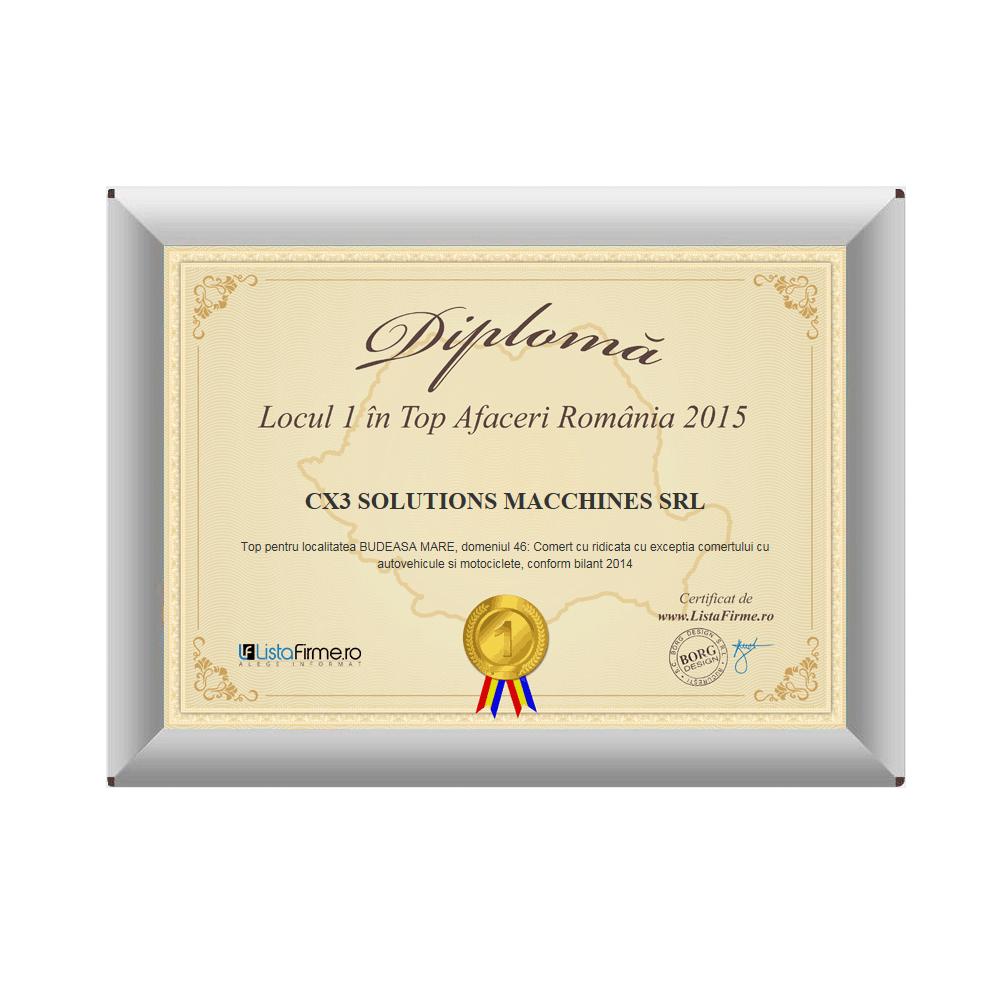 Diploma cu locul I in top afaceri 2015