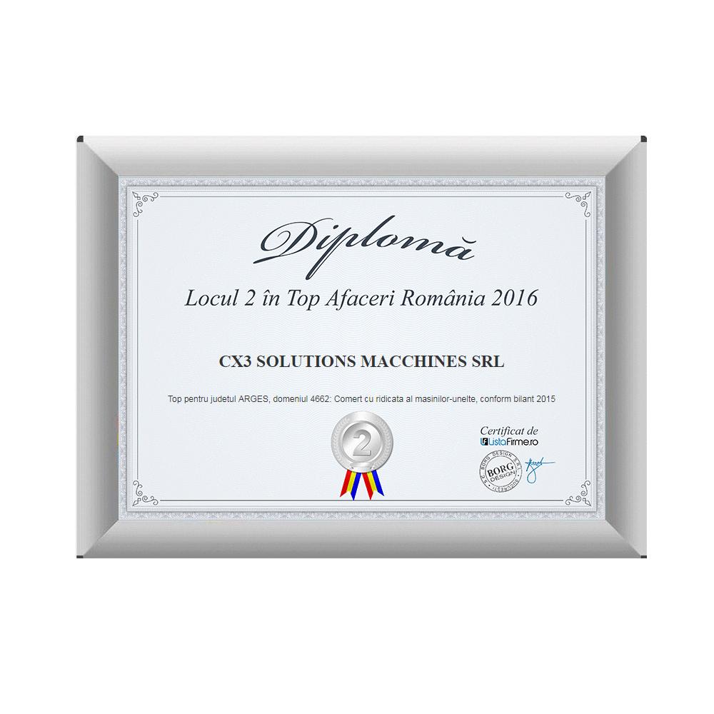Diploma cu locul II in top afaceri 2014